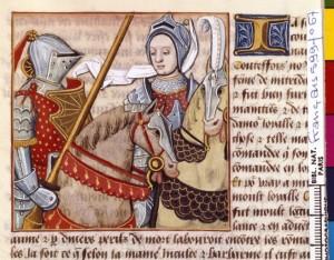 Boccace De mulieribus claris Traduction Laurent de Premierfait Illustrations Robinet Testard FrançaisFrançais 599, fol. 67, Hypsikrateia accompagnant l armée BNF