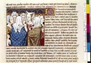 Boccace De mulieribus claris Traduction Laurent de Premierfait Illustrations Robinet Testard FrançaisFrançais 599, fol. 69, Assemblée des femmes cimbres BNF