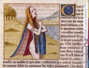 Boccace De mulieribus claris Traduction Laurent de Premierfait Illustrations Robinet Testard FrançaisFrançais 599, fol. 71, Turia simulant le désespoir BNF