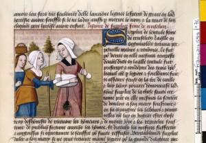 Boccace De mulieribus claris Traduction Laurent de Premierfait Illustrations Robinet Testard FrançaisFrançais 599, fol. 72, Sulpicia partant retrouver son époux BNF