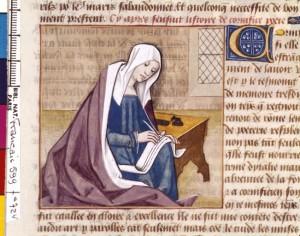 Boccace De mulieribus claris Traduction Laurent de Premierfait Illustrations Robinet Testard FrançaisFrançais 599, fol. 72v, Cornificia écrivant BNF