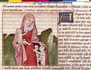 Boccace De mulieribus claris Traduction Laurent de Premierfait Illustrations Robinet Testard FrançaisFrançais 599, fol. 77, Agrippine l'Aînée BNF