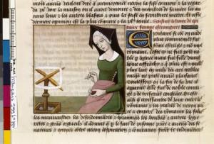 Boccace De mulieribus claris Traduction Laurent de Premierfait Illustrations Robinet Testard FrançaisFrançais 599, fol. 79v, Epicharis filant BNF