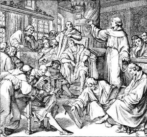 La dispute de Leipzig en 1519 avec Johannes van Eck, Martin Luther et Philipp Melanchton