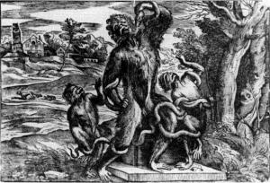 Gravure caricature imitant le Laocoon, attribuée à Titien par Ridolfi