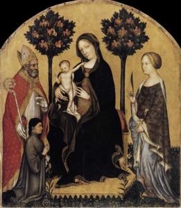 Gentile da Fabriano Vierge à l'enfant avec saint Nicolas et sainte Catherine. Vers 1405. Tempera sur panneau de bois. Berlin, Staatliche Museen