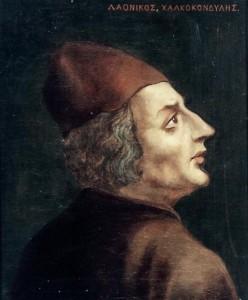 Laonicos Chalcondyle, portrait par Avgoustos Pikarelli (fin du XIXe s.) Musée d'Histoire nationale d'Athènes Source Wikipedia