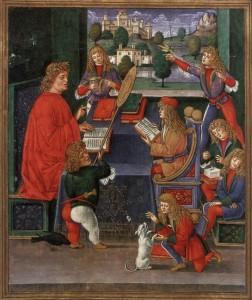 Maximilian Sforza assiste à une leçon de son maître le comte Gian Antonio Secco de Borella Ms 2167 f.13v , from 'Donatus Grammatica' Bibliothèque Trivulziana Milan