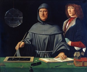 Portrait de Luca Pacioli avec son élève (Guidobaldo de Montefeltre) attribué a Jacopo de Barbari Musée de Capodimonte Naples