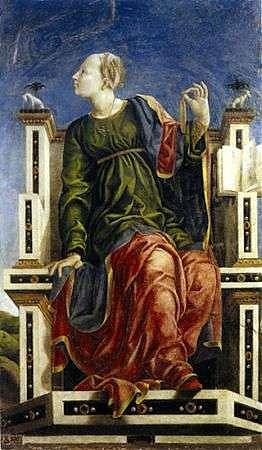 Studiolo de Belfiore muse Uranie Angelo Maccagnino élève de Cosme Tura Image Wikipedia Pinacoteca Nazionale de Ferrare Palazzo dei Diamanti
