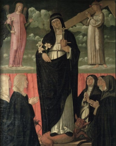 Francesco Bonsignori La beata Osanna Huile sur toile Palais ducal de Mantoue Isabelle d'Este à genoux à gauche avec trois dames d'honneur