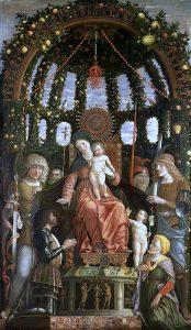 Andrea Mantegna Madone de la victoire Musée du Louvre Tableau réalisé pour célébrer la victoire de Fornoue Francois de Gonzague est agenouillé au premier plan Photo RMN Grand-palais Musée du Louvre Jean-Gilles Berizzi