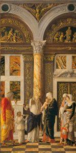 Andrea Mantegna La Circoncision Vers 1460-1464 Bois; H. : 86 cm ; L. : 43 cm Florence, Galleria degli Uffizi, inv.1890 n.910 © Paolo Nannoni, Florence Image provenant du site de l'exposition Mantegna au Louvre