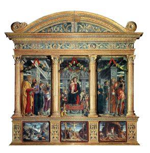Andrea Mantegna Retable de San Zeno à Verone Les trois prédelles du bas sont des copies des originaux de Tours et Paris Image Wikipedia sur le retable de San Zeno