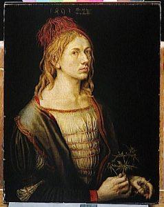 Albrecht Dürer Autoportrait 1493 Huile sur toile 56.5 H ; 44.5 L Crédit photo © Arnaudet Réunion des musées nationaux Musée du Louvre Paris