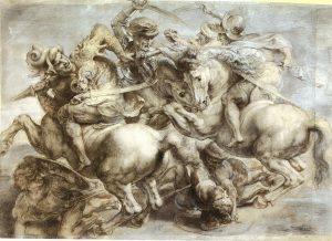 Bataille d'Anghiari en 1440 contre Milan Carton de Rubens d'après un dessin de Léonard de Vinci Le Louvre Département des Arts graphiques NV 20271 Photo (C) RMN-Grand Palais (musée du Louvre) / Michel Urtado