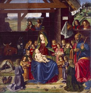 Benedetto Ghirlandaio Nativité 1490 Bois; H. : 1,47 m ; L. : 1,47 m Aigueperse, Eglise Notre-Dame, IM63001643 © Sparsae, Association culturelle d'Aigueperse et ses environs. Image du site de l'exposition Mantegna du Louvre