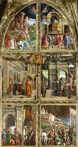 Andrea Mantegna Chapelle Ovetari Reconstitution numérique des fresques de la légende de Saint Jacques Eglise des Eremitani Padoue Source image Wikipédia galileopark.it supprimée du site Progetto Mantegna.it Les quatre scènes du bas sont de Mantegna. Les deux du haut sont attribuées à Niccolo Pizzolo