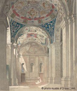 Louis Boitte Villa Madame, vue générale de la loggia en 1865 crayon et aquarelle sur papier contrecollé sur papier H. 0.33 ; L. 0.282 musée d'Orsay, Paris, France ©photo musée d'Orsay / RMN