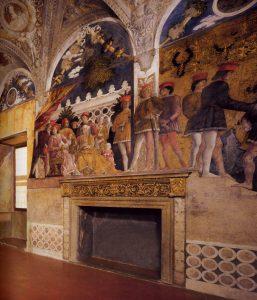 Andrea Mantegna Palais ducal de Mantoue Castello San Giorgio Chambre des Epoux La cour avec serviteurs