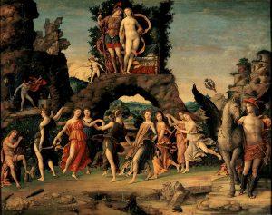 Andrea Mantegna Le Parnasse Tableau réalisé pour le studiolo d'Isabelle d'Este Vers 1496-1497 Toile; H. : 1,59 m ; L. : 1,92 m Paris, Musée du Louvre, dép. des Peintures, inv. . 370 © RMN / DR Image provenant du site de l'exposition Mantegna au Louvre
