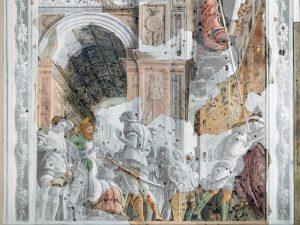 Andrea Mantegna Chapelle Ovetari Eglise des Eremitani Etat actuel de la reconstitution de la fresque de Saint Jacques marchant au supplice (scène 5) Image resengineering.it