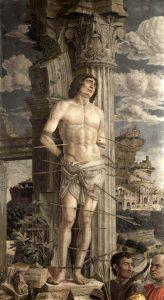 Andrea Mantegna Saint Sébastien d'Aigueperse Vers 1478-1480 ? Tempera sur toile de lin; H. : 2,55 m ; L. : 1,40 m Paris, Musée du Louvre, dép. des Peintures, RF 1766 © 2008 C2RMF/ Jean-Louis Bellec Image provenant du site de l'exposition Mantegna au Louvre