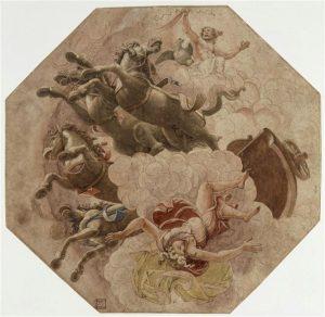 Giulio Romano Phaëton tombe du char du soleil Dessin pour la fresque du palais du Té Mantoue