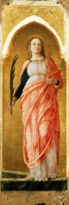 Andrea Mantegna Sainte Justine 1453-1455 Bois; H. : 1,18 m ; L. : 0,42 m Milan, Pinacoteca di Brera, inv. 165 © Sovr. Beni artistici e storici, Pinacoteca di Brera, Milan Image provenant du site de l'exposition Mantegna au Louvre