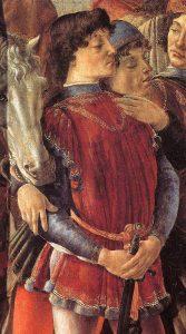 Botticelli Adoration des Mages (détail) Au premier plan Laurent le Magnifique, Pic de la Mirandole lui faisant l'accolade et le Politien avec le chapeau Galerie des Offices Image Web Gallery of Art