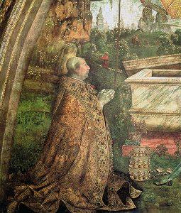 Alexandre VI Le Pinturicchio Detail de la Resurrection Salle des Mysteres de la foi Appartement Borgia Image Wikimedia