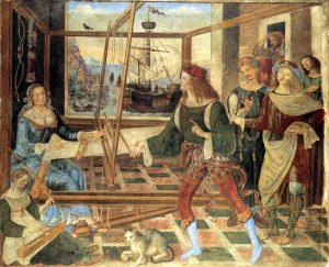 Pinturicchio Le retour d'Ulysse Fresque du palais Magnifico de Petrucci à Sienne National Gallery Londres Image Web Gallery of Art