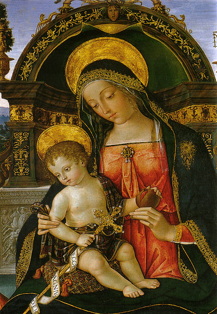 Pinturicchio Vierge à l'enfant détail du Retable de l'église de Santa Maria dei Fossi Pérouse Image Wikimedia.it
